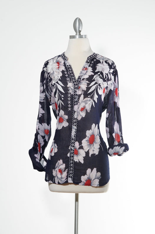 Flower Power Navy Top
