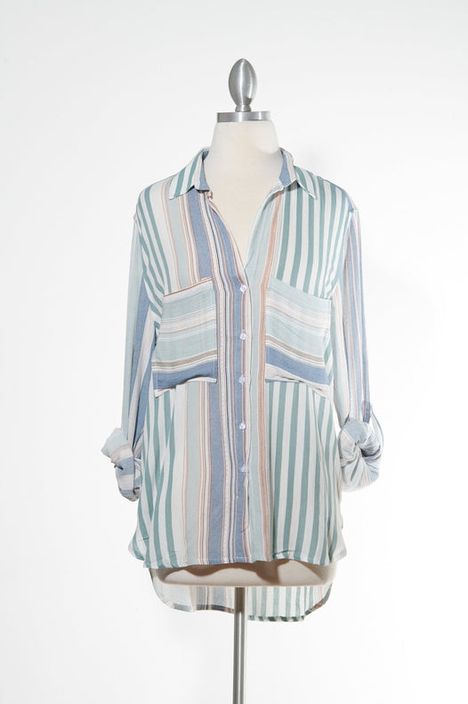 Beach Flow Multi Color Striped Button Down Top