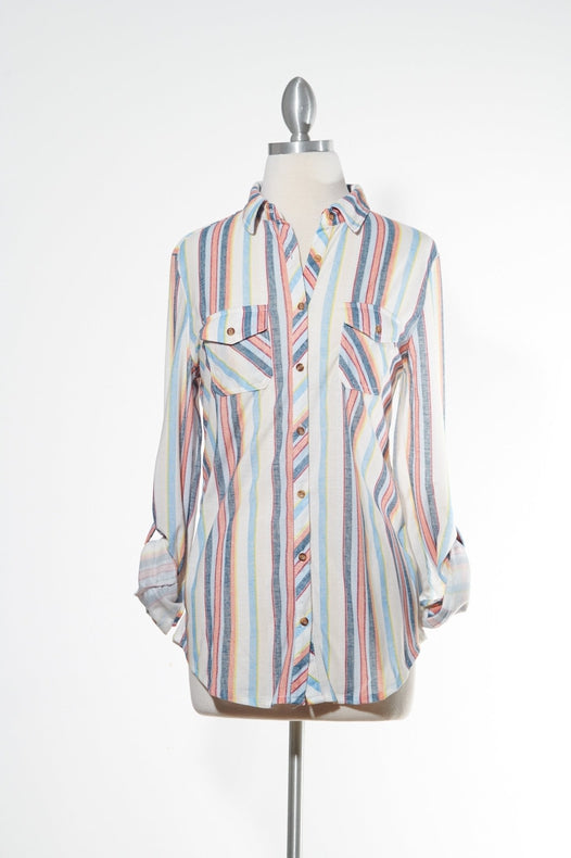 Sand & Beach Striped Button Down Top