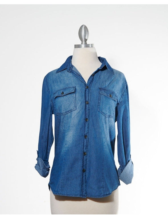 Dark Denim Wash Button Down Top