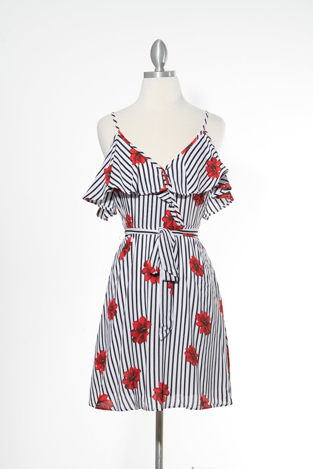 Red Rose Striped Dress