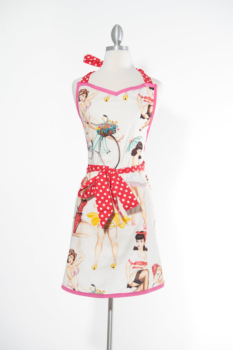 Pin Up Doll Pink Apron