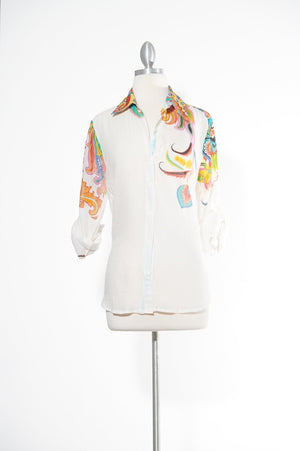 Rainbow Baby White Button Down Top