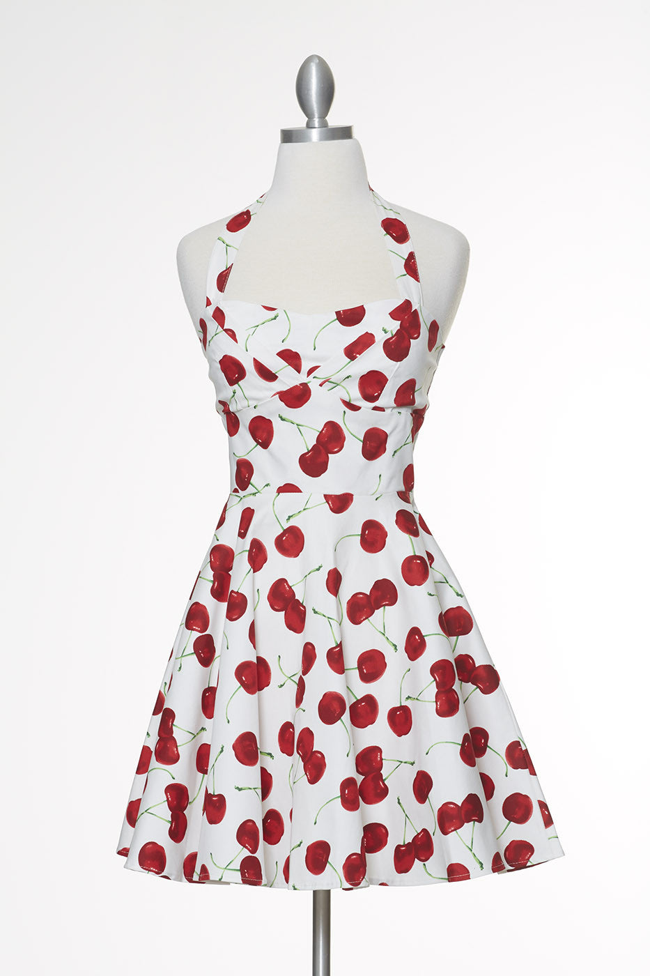Cherry Pie Halter Marilyn Dress - White