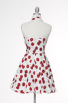 Cherry Bomb Halter Marilyn Dress - White