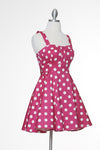Merry Marilyn Polka Dot Dress - Fuchsia