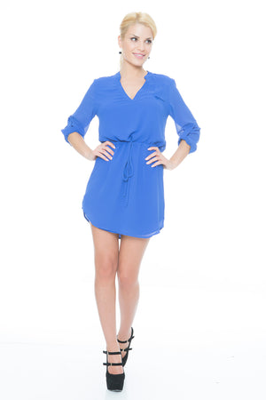 blue-v-neck-drawstring-shirt-dress