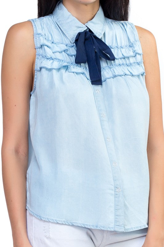 Ruffle Tie Top Light Blue