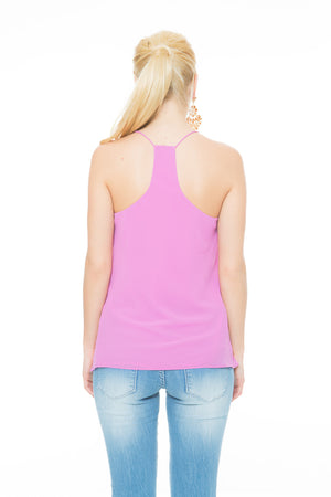 bubble gum pink chiffon string top