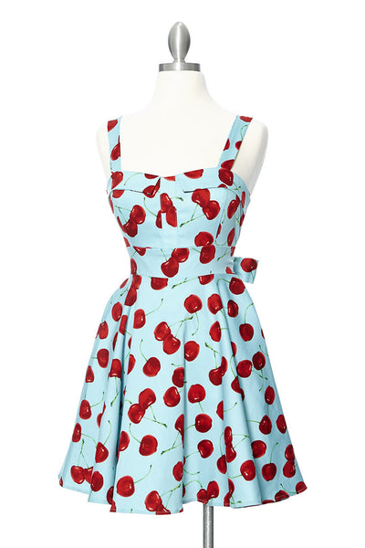 Cherry Bomb Pinup Style Dress - Blue