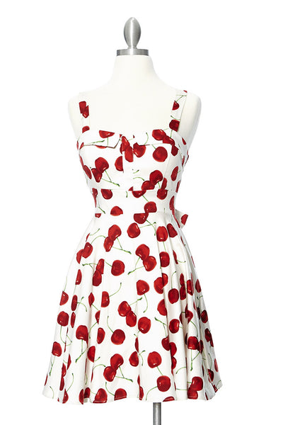 Cherry Bomb Marilyn Dress - White