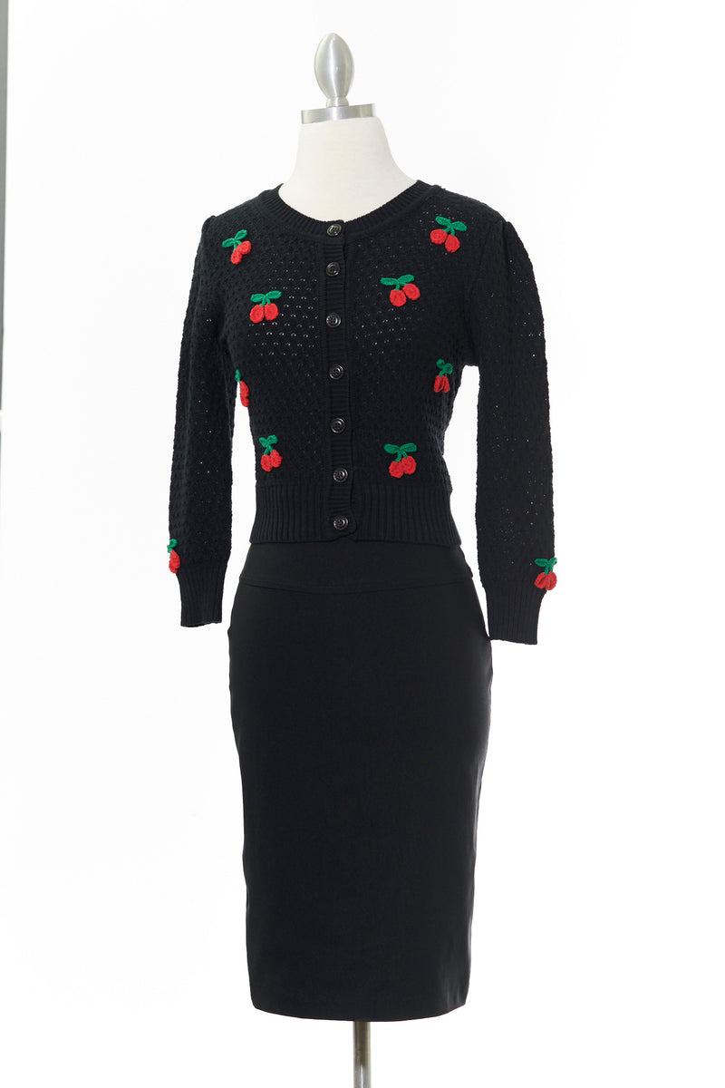 Vintage Cherry Embroidered Black Cardigan