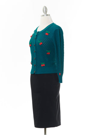 Vintage Cherry Embroidered Teal Cardigan