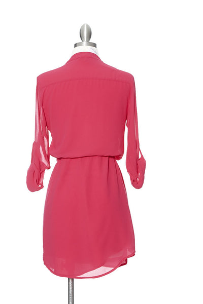 Coolin' It Shirt Dress - Fuchsia