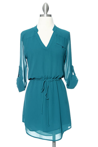 Coolin' It Shirt Dress - Teal