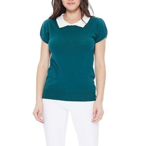 All You Need Classic Collar Top Teal