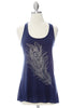 Diamond Feather Tank Top - Navy