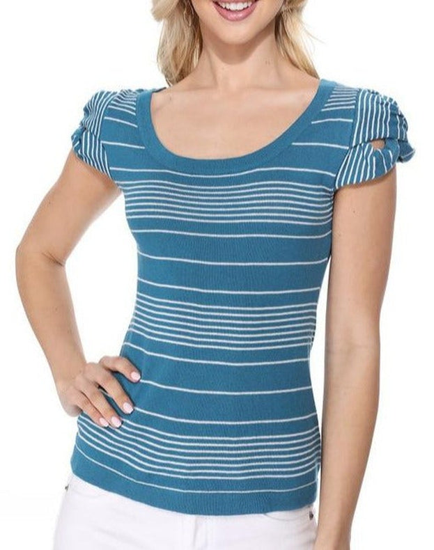 No Worries Scoop Neck Top Blue
