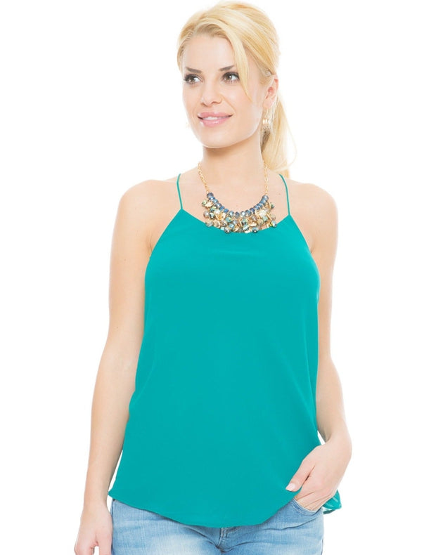 teal chiffon string top