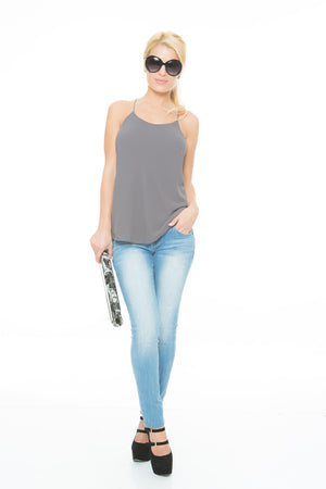 grey chiffon string top
