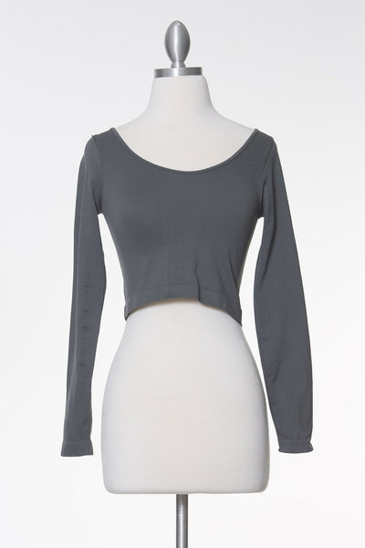 Late Nights Crop Top - Charcoal Grey