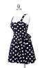 Merry Marilyn Polka Dot Dress - Navy