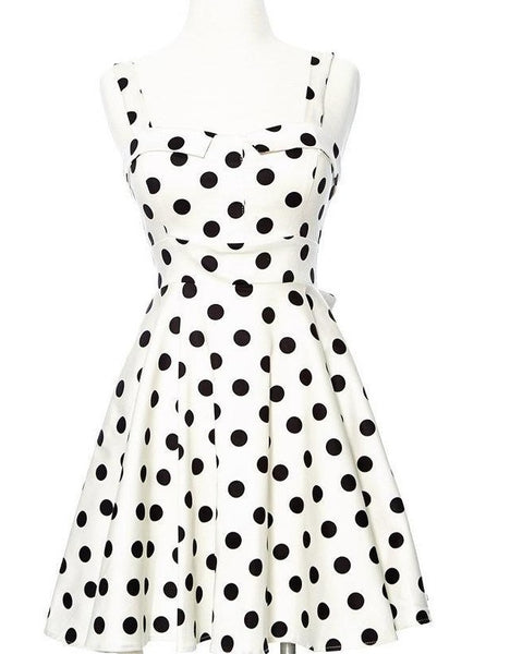 Merry Marilyn Polka Dot Dress - White