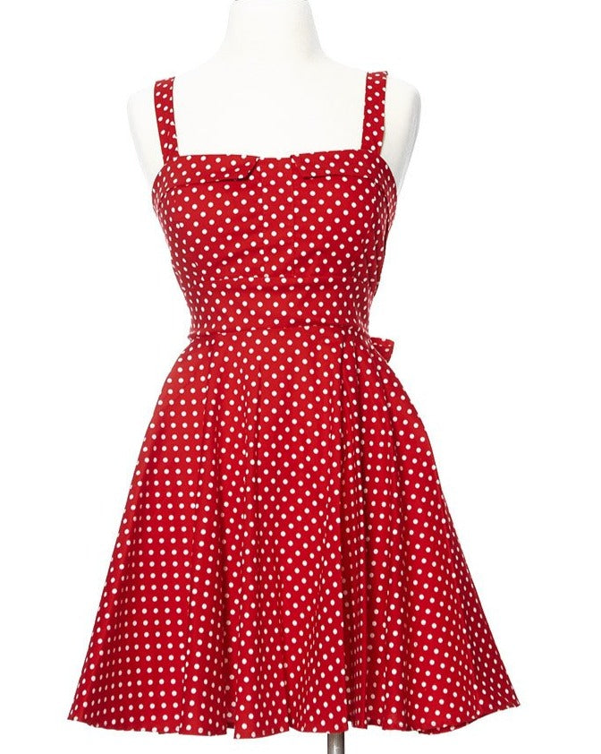 Merry Marilyn Small Polka Dot Dress - Red
