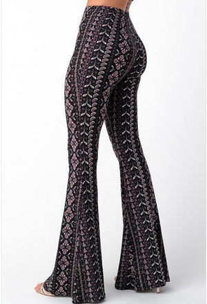 Bell Bottom Paisley Pant Purple