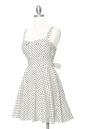 Merry Marilyn Small Polka Dot Dress - White