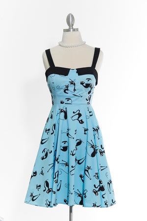 Cats Steal Hearts- Black Strap Dress
