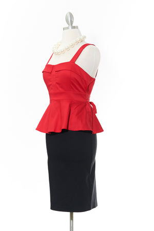 Pretty in Peplum Red Top