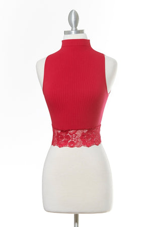 Staple Worthy Lace Red Crop Top