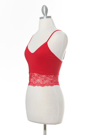 All Day Low Lace Red Tank Top