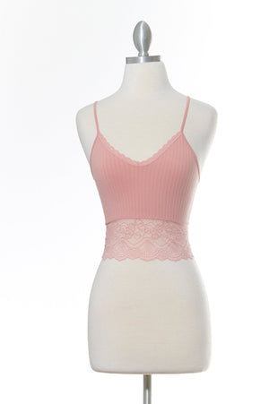 All Day Low Lace Pink Tank Top