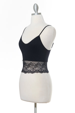 All Day Low Lace Black Tank Top