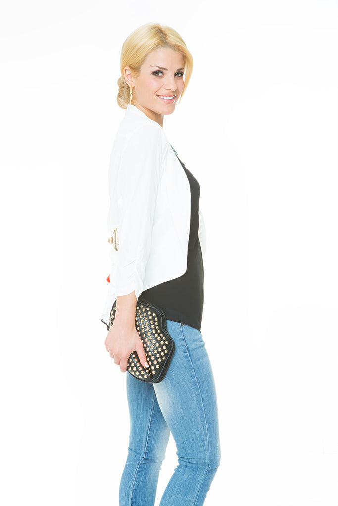 white front draped cropped blazer