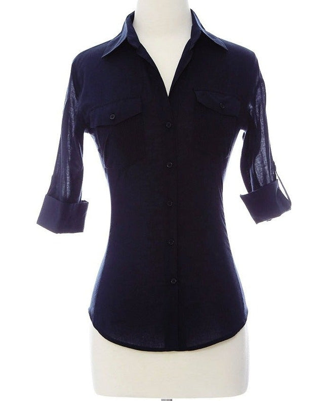 Working Girl Navy Dressy Women's Top