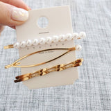 3 Piece Set Hair Clips - Pearl - Gold