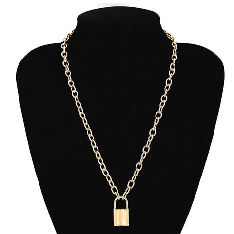 Vintage Lover's Lock Pendant Necklace Gold