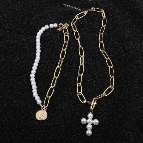 Pearl Layered Cross Necklace