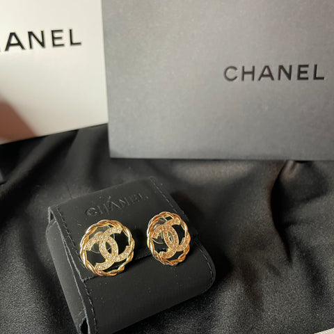 Gold Chanel Earrings - Round Chanel Earrings