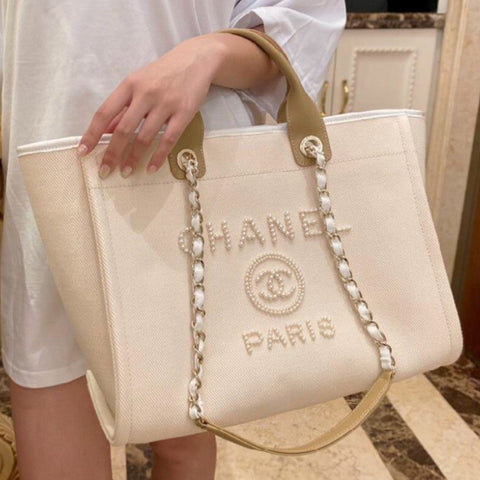 Pre Order CHANEL Beige LIMITED Tote with Pearls