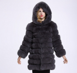 Plush Faux Fur Hooded Coat