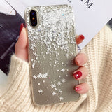 Snow Flower Soft Silicone Case For iPhone