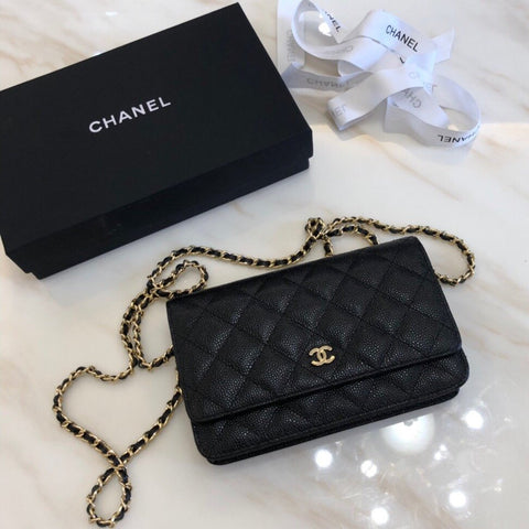 Chanel Gold and Black Quilted Wallet Handbag