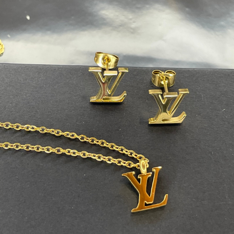 SHIPS SAME DAY - LV Silver or Gold Chain & Earrings - 18K Gold Dipped