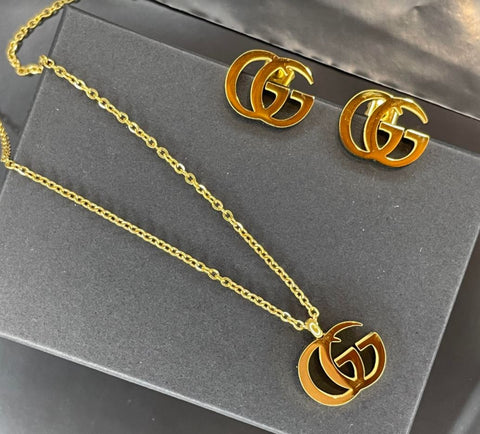 SHIPS SAME DAY - Double G Gold Chain & Earrings - 18K Gold Dipped