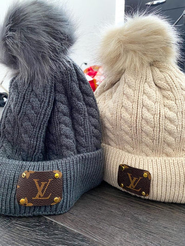 Up-Cycled Louis Vuitton Beanie Hat - Winter Hat