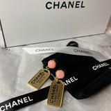 Stamped Chanel Gold Cambon XL Letter Logo 31 Rue Pink Drop Earrings